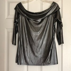 Shimmery black and silver top